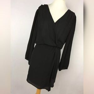 Joie S Small Dress Black Silk V Neck Wrap Sheer